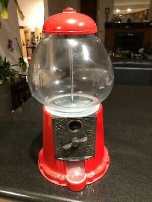 Solid metal/glass antique Gum ball Dispenser Machine Coin Operated - Red