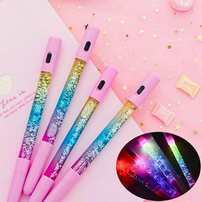 LED Liquid Quicksand Kawaii Magic Glitter Black Ink Gel Pen Gift School Supplies