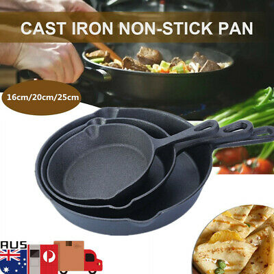 3 Size Cast Iron Frying Pan Skillet Griddle Oven Cookware Cooking Pots for BBQ