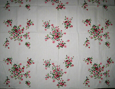 """Fabulous Vintage Cotton Tablecloth with Brightly Colored Roses 50 X 54"""""""