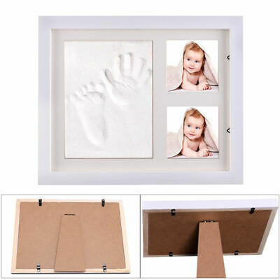 Baby/Kid Hand&Foot Print Clay Cast Kit&2 Photo Picture Frame Christening Gift