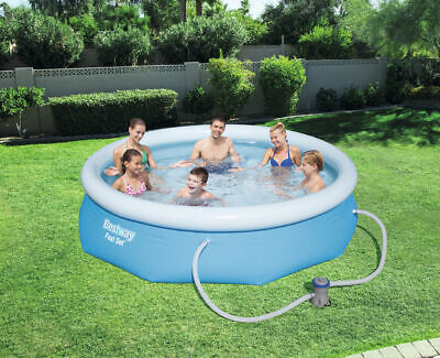 "10FT x 30"" Swimming Pool Outdoor Garden Paddling Family Inflatable Fast Set Pump"