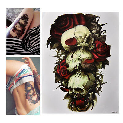 Waterproof Skull and Rose Temporary Tattoo Large Arm Body Art Tattoos Sticker _S