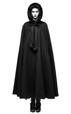 Long Cape Black with Embroidery and Hooded Elegant Gothic Punk Ra Punk Rave