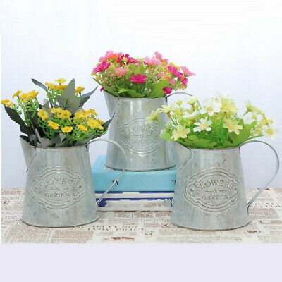 Antique Vintage Metal Iron Flower Vase Flower Shabby Chic Pot Plant Bucket Decor