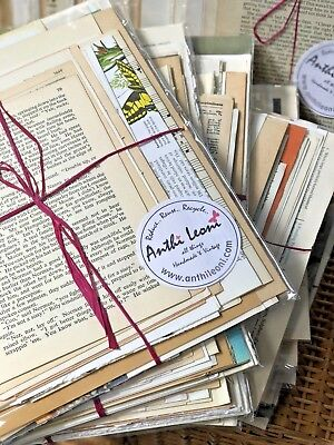 Book Paper Ephemera Collage Pack, Antique and Vintage Paper Mixed Media Pages