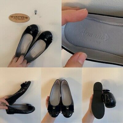 Sz 32 Armani Navy Blue Patent Flats With Velvet Bow And Logo Detail
