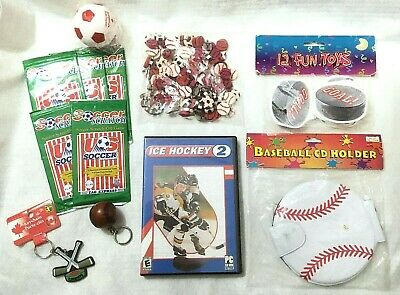 Junk Drawer Lot Sports Theme Games Key Chains Erasers Stress Ball Notepads CD
