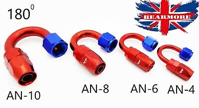180 Degree Braided Hose End Fast Flow Fitting JIC AN-4 AN-8 AN-10 / AN6 AN8 AN10