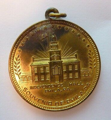 Old INDEPENDENCE HALL SOUVENIR OF PHILADELPHIA Medallion Fob Penna