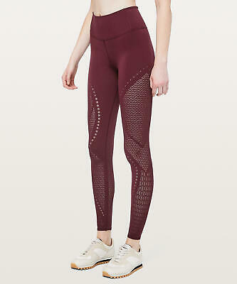 "70972869e216d8 New Lululemon Reveal Tight 28"" Mindful Motion~Deep Ruby ~ Size 10~ Free"