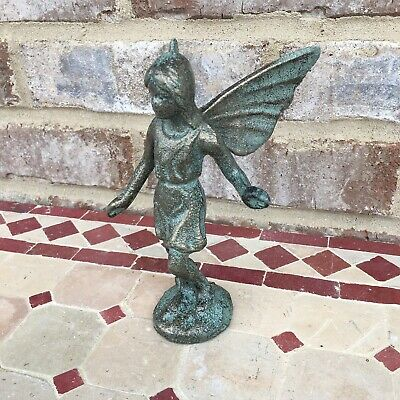 Cast Iron Fairy Statue Angel Wings Antiqued Bronze Figurine Cherub Pixie Elf