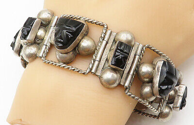 MEXICO 925 Silver - Vintage Black Jade Carved Faces Chain Bracelet - B5110