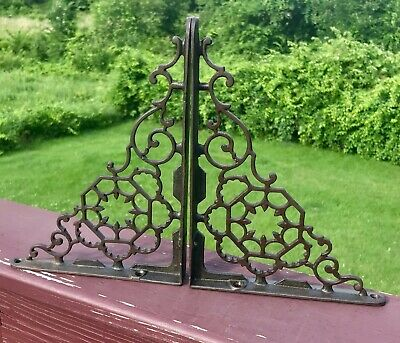 "2 Antique Cast Iron Wall Brackets Web Design Victorian 9 1/4"" x 6"" Authentic"