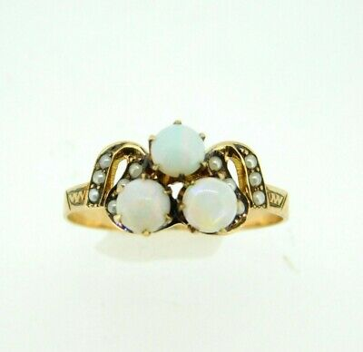 10k Gold Victorian Ring with Three Opals and Seed Pearls (#J5006)