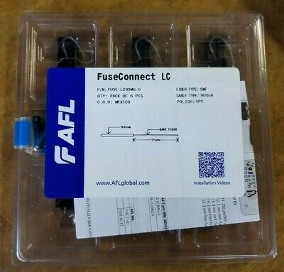 AFL FuseConnect LC Connector; Fuse On Single Mode. FUSE-LC9SMU-6