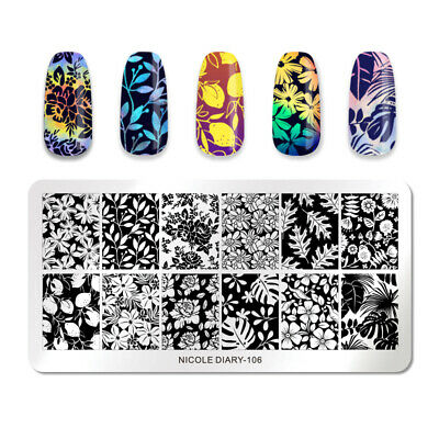 NICOLE DIARY Stamping Plates Rectangle Flower Patterns Nail Image Templates