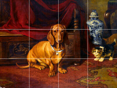 "24""X18"" Tile Floor Medallion brown dachshund dog kitten cat antique interior"