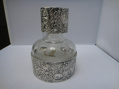 Beautiful Solid 800 Silver Decanter With 1 Cup Germany Hanau