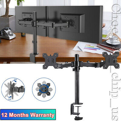 Adjustable Dual Arm Screen Monitor Stand TV Bracket Mount Holder For 10-27""