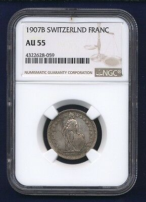 Switzerland 1907-B  1 Franc Silver Coin, Almost Uncirculated, Ngc Certified Au55