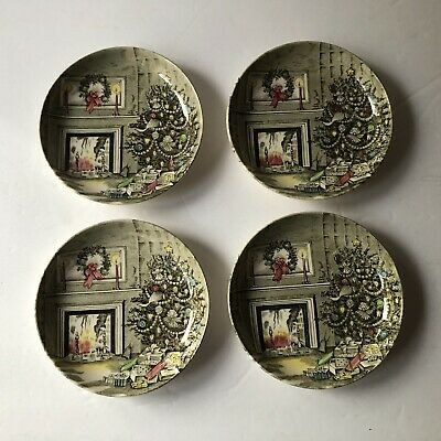Lot of 4 Johnson Brothers Merry Christmas Butter Pats Coasters