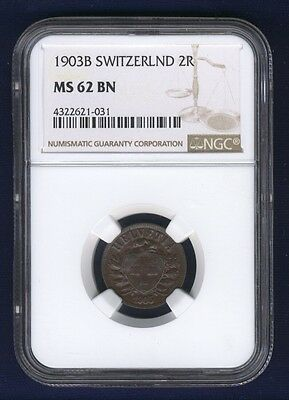 Switzerland  1903-B  2 Rappen Coin, Choice Uncirculated, Ngc Certified Ms-62-Bn