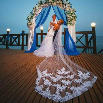 White Ivory Lace Wedding Veil Bridal Veil Long Tulle Cathedral Wedding Veil -3M