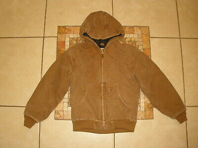 4923e8d1db937 Youth Boys Kids CARHARTT YYJ130 FLANNEL lined HOODED DUCK Jacket Large 10-12