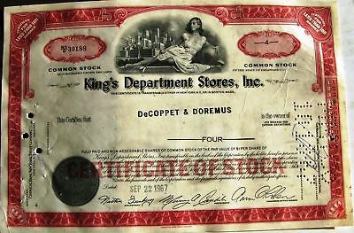 King/'s Department Stores Stock Certificate Orange Inc