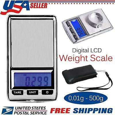 0.01g – 500g Gram Mini Digital LCD Balance Weight Pocket Jewelry Diamond Scale