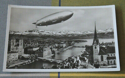 Real Photo 1936 Olympic Games Airship Hindenburg Lz129 Over Zurich Unused #16