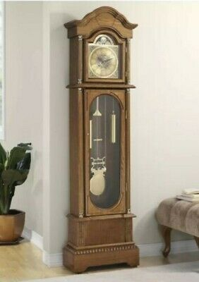 Antique Grandfather Clock Traditional Vintage Longcase Solid Wood Glass Door