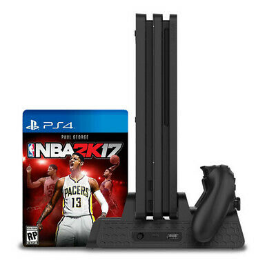 Vertical Cooling Fan Stand with Gamepad Charging Station For PS4/Slim/PS4 Pro A