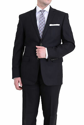 Men's Raphael Slim Fit Solid Black Textured Two Button Wool 2 Piece Formal Suit