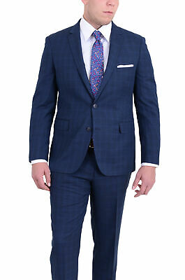 Mens Slim Fit Blue Windowpane Two Button Wool Blend Suit