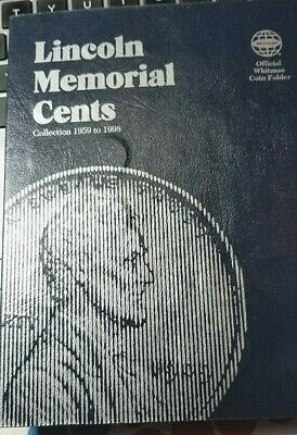 Lincoln Memorial Cent (1959 to 1998 PARTIALLY FILLED (59 coins) Whitman Folder
