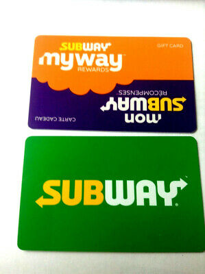 """SUBWAY GIFT CARD """" my way + GREEN CLASSIC """" NO VALUE NEW! RECHARGEABLE BILINGUAL"""
