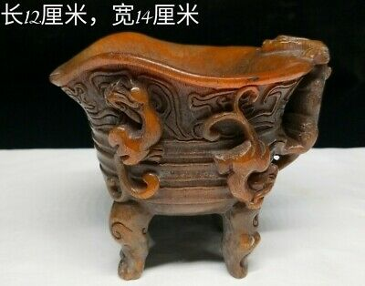 "6"" Chinese old antique Ox horn handcarved beast four feet Cup statue"