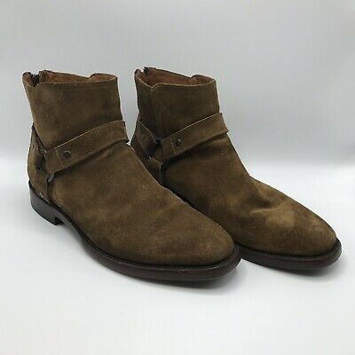 135ba81c72b FRYE Mens Weston Harness Boots Size 10 Back Zip Soft Suede BROWN 3485061-CHT