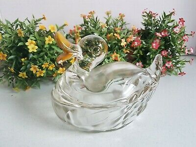 Duck Clear Glass Two Piece Trinket or Butter Dish Vintage 4.8x6 Inch Yellow Bill
