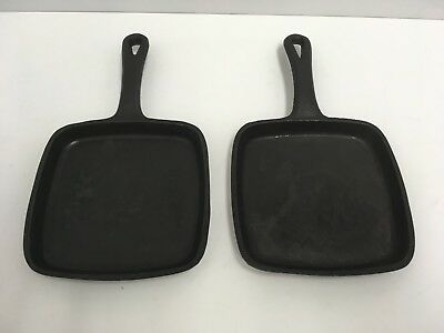 """Skookie Mini Skillet 6"""" Cast Iron SQUARE SKILLET/FRY PAN SET OF TWO (2) GUC"""