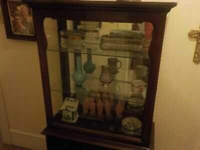 Queen Anne Style Curio Display Case Mahogany Glass sides Antique