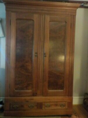 Antique Armoire Beautiful Inlaid Panels, Exotic Wood Crafted
