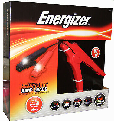 Energizer Heavy Duty Jump leads Booster cables with LED Lights + Storage bag