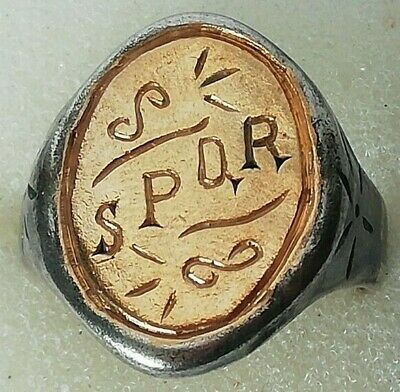 Ancient Roman Silver Legionary Ring Marked Spqr Inlaid 24K Thick Gold Plate Rare