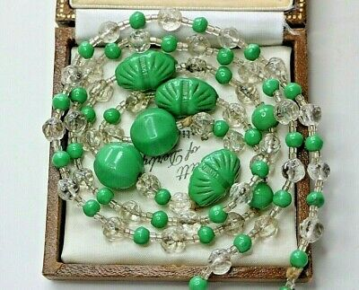 Vintage 1930's Deco Moulded Czech Green Glass & Clear Crystal Bead Necklace