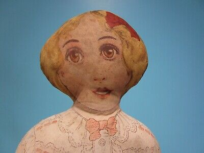 """Antique 1900's 22"""" Art Fabric Mills Lithograph Printed Face Cloth Rag Doll"""