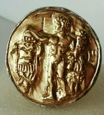 Rare Ancient Roman Silver Legionnaire Ring Hercules With Inlaid Gold 24K Unique