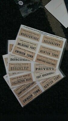 12 Original LSWR London & South Western Railway Closed Stations LUGGAGE LABELS